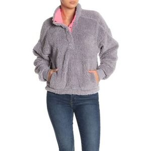 Abound Gray Faux Shearling Fleece Sweater M NWT